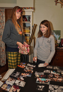 Molly Johnson and Sara O'Brien making Grandma Terry's Photo Board