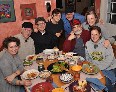 Left to Right Cheryl O'Brien, Greg O'Brien, Bernie O'Brien, Beth O'Brien, Art Stancher, Jim O'Brien, Eileen O'Brien and Nora O'Brien  all enjoying Art's Puttanesca Dinner