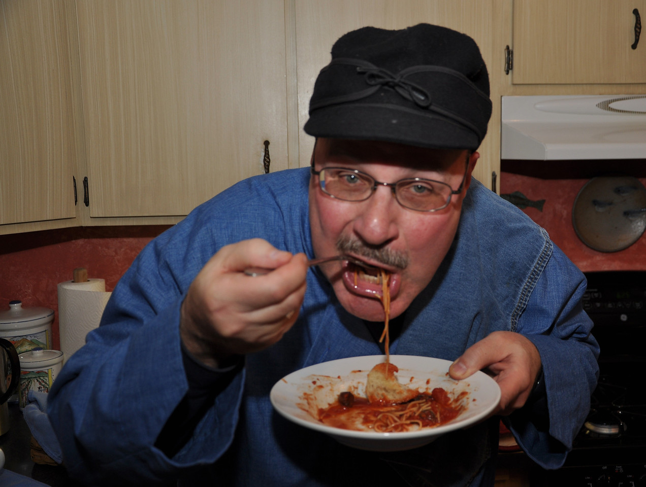 Art Stancher eating his Puttanesca