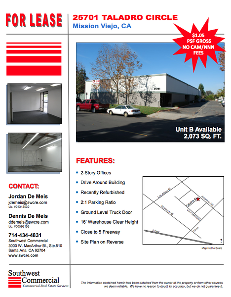 South Orange County Warehouse Industrial Units for Lease