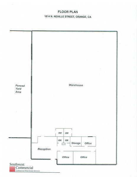 Floor Plan depicting the premises 1814 Neville, Orange CA.<br /> 16,320 square feet<br /> approximately 1,300 square foot office space<br /> 3 grade level loading doors<br /> Large Fenced Yard <br /> 33 car parking<br /> fire sprinklers<br /> 400 Amps. 120-208 Volt, 3 Phase Power<br /> Excellent Access to 5 Major Freeways<br /> <br /> Contact Jordan De Meis for further details and to arrange a private tour | 714-434-4831 ext 14 jdemeis@swcre.com