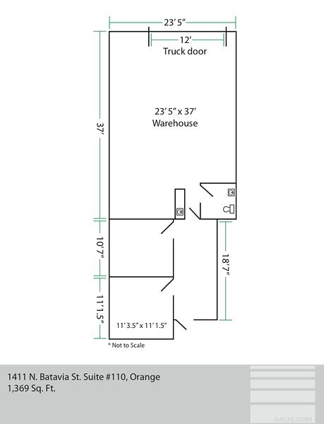 1411 N Batavia suite 110, Orange CA<br /> Floor plan depicting the premises.<br /> Floor plans available for other available units, please contact Southwest Commercial for details: 714-434-4831   assist@swcre.com