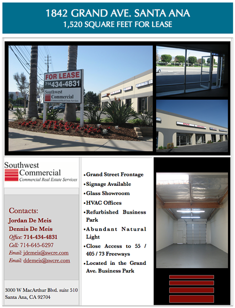 1842 S Grand Ave, Santa Ana<br /> 1,520 Square feet of industrial office and warehouse space for lease.<br /> Amazing street frontage and signage on Grand Ave.