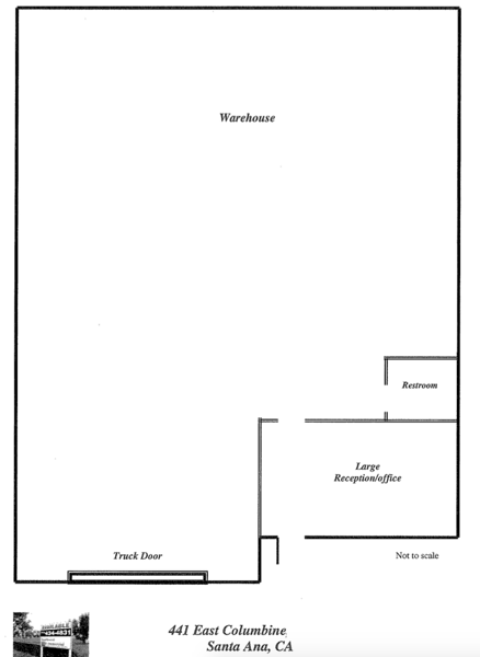 Typical Floor Plan for 441 E Columbine Ave, Santa Ana (2,125 square foot industrial unit)