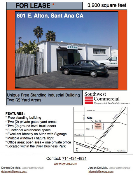 601 E Alton, Santa Ana CA is truly unique building with 3,200 square feet of industrial office and warehouse space, 2 ground level truck doors, two private, fenced yard areas and the building is stand alone, free standing, located on the corner facing Alton.  Great signage and visibility for your business!  These small buildings with yards do not last long on the market!  Marketed at only $0.76 per square foot gross (no CAMS or NNN's)