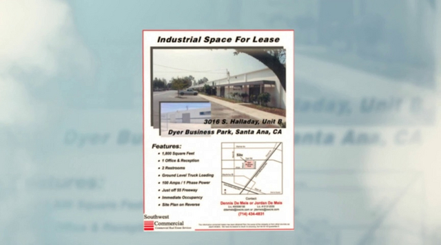 Dyer Business Park video slide show.<br /> Industrial multi-tenant units for lease from 1,200 square feet to 12,000 square feet.<br /> South Santa Ana location with excellent access to the 55 freeway