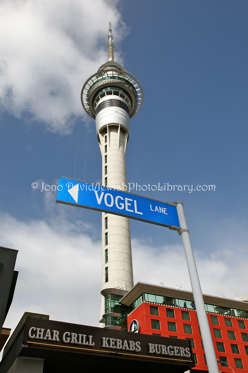 NEW ZEALAND, Auckland. (Sir Julius) Vogel Lane and Sky Tower; NZ premier from 1873~5 and 1876. (9.2010)