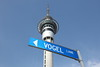 NEW ZEALAND, Auckland: (Sir Julius) Vogel Lane and Sky Tower; NZ premier from 1873~5 and 1876. (9.2010) :