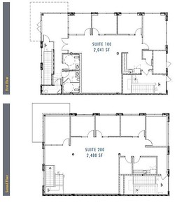 Floor Plan for 2,450 - 4,960 square foot suites.  Special Pricing Available for Some of These Buildings: $1.00 per square foot until 12/31/09!