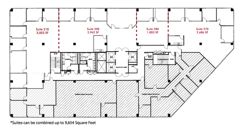 Spec Suites on Second Floor offered at $0.99 FSG for first year!!!<br /> Flexible sizes from 1,003 square feet and expandable all the way to 9,654 square feet.