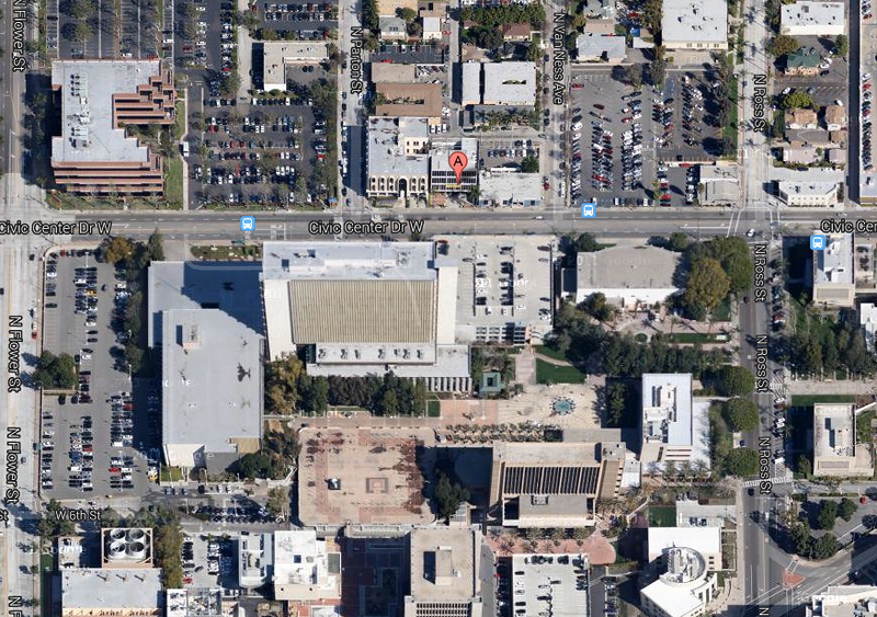 Directly Across the Street from the Santa Ana Courthouse and City Buildings.
