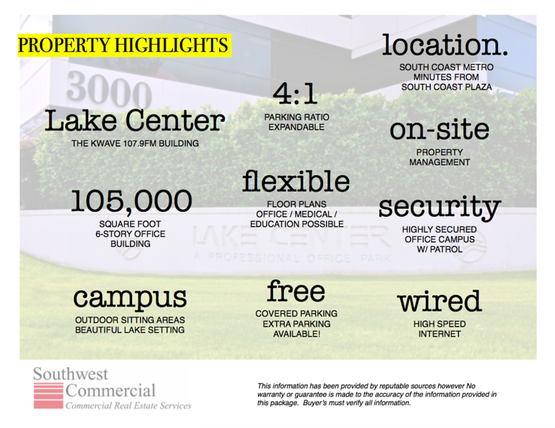 PROPERTY HIGHLIGHTS - OFFICE SPACE FOR LEASE
