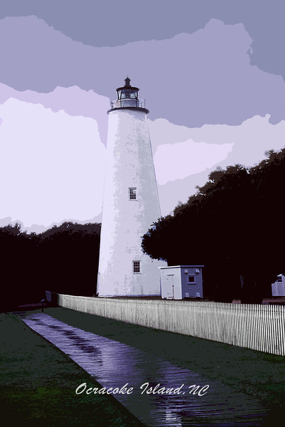 Ocracoke Lighthouse  and Overcast Skys ca 2001