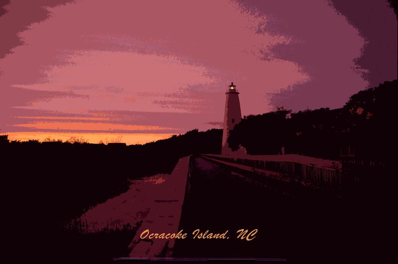 Ocracoke Lighthouse at Dusk