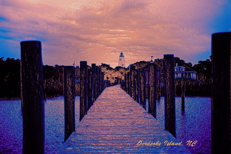 Ocracoke Harbor and Lighthouse at Twilight