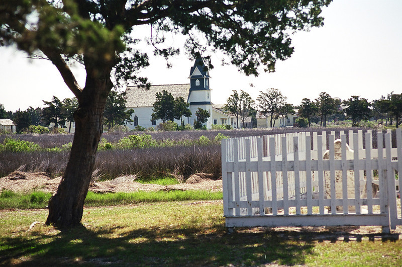 Looking towerd the beautiful Community Church on Portsmouth Island NC