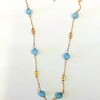7-RM86-CO49  SMALL 4 WAY CROSS ON VINTAGE CHAIN AND BLUE QTZ  16 +2