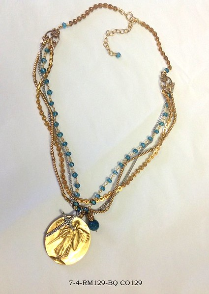 7-4-RM129-BQ  VICTORY ANGEL ON 2 CHAINS AND LONDON BLUE QTZ WITH STERLING CROSS