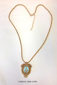 7-RM232-VBB CO98  VINTAGE BLUE MIRACULOUS MEDAL IN FANCY BRONZE FRAME ON VINTAGE CHAIN  16 + 2