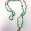 7-RM227-ATJ C076  4 WAY CROSS ON AQUA TERRAIN JASPER KNOTTED  36""