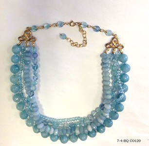 7-4-BQ CO120 4 STRANDS OF DIFFERENT SIZES OF BLUE QUARTZ