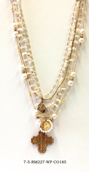 7-5-RM227-WP CO185 5 STRANDS WHITE PEARLS, MOONSTONE AND VINTAGE CHAIN WITH 4WAY CROSS AND VINTAGE MEDAL WITH PEARLS SURROUNDING AND ANOTHER CROSS AND INFANT JESUS OF PRAGUE  16 +2