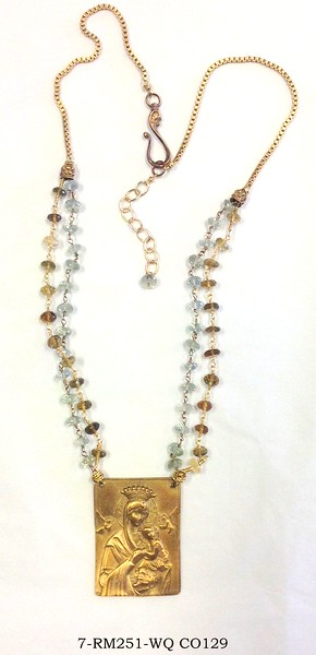 7-RM251-WQ CO129  OUR LADY OF GOOD HELP ON WHISKY QTZ AND AQUAMARINE ROSARY CHAINS