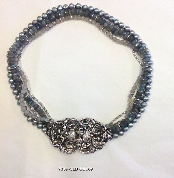 7339-5LB CO169  STERLING CLASP ON 5 STRANDS LAB AND PEARLS AND GREY MOONSTONE.  CAN BE WORN IN FRONT OR BACK OR SIDE