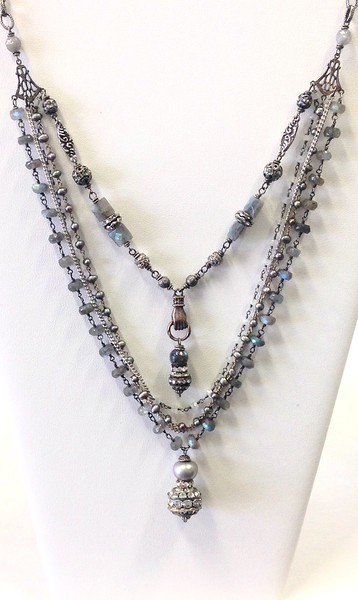 7-5-LAB-RS CO198  5 STRANDS LAB, PEARL AND MOONSTONE WITH RHINESTONES AND STERLING STATIONS,  TOP STRAND WITH HAND FEATURE