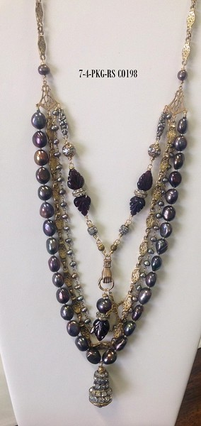 7-4-PKG-RS CO198  4 STRANDS O PEACOCK PEARLS, VINTAGE CHAIN, PEARLS AND GARNET LEAVES WITH RHINESTONES