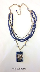 759-5BL CO149 STERLING CHIELD ON SODALITE ON BLUE JADE, AND VINTAGE CHAIN WITH IOLITE BRIOLETTES