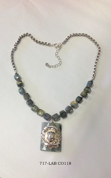 717-LAB CO118  STERLING SPORT MEDAL ON LABRADORITE AND CHAIN