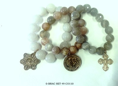 0-BRAC SET49 CO110  3 SHADES OF MOONSTONE BRACELETS WITH LEFT: RM138 7 WAY MEDAL, RM74, ST. ANTHONY, AND RM263 4 WAY CROSS