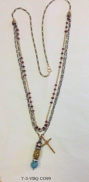 7-3-VBQ CO99 TINY KEISHI PEARS ROSARY CHAIN, VINTAGE CHAIN AND GARNET ROSARY CHAIN WITH VINTAGE FILIGREE BEAD/BLUE QTZ PENDANT WITH CROSS