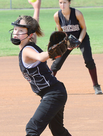 Kevin Harvison | Staff photo<br /> Krebs pitcher Sarah Goostree pitches a ball during Organization of Rural Elementary Schools 2017 State Fastpitch Softball Tournament Division II against Brushy at the Pittsburg County Softball Complex Friday.