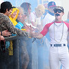 Kevin Harvison | Staff photo<br /> McAlester High School player dressed as Domingo Ayala is announced during the first Hallowscream Baseball game. The free event had fun games for the kids watching the game between innings.