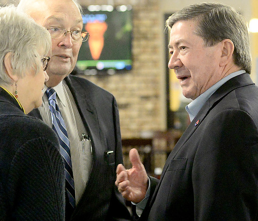 KEVIN HARVISON | Staff photo<br /> Oklahoma Governor candidate Drew Edmondson, right, speaks with Francis Lerblance, left and former Oklahoma State Senator Richard Lerblance during a Edmondson stop in McAlester Thursday.