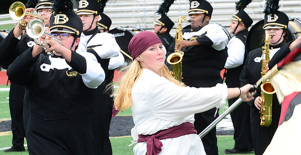 KEVIN HARVISON   Staff photo<br /> Members of the Beggs Marching Band perform during the 3A Regional Band Competition at Hook Eales Stadium Wednesday.