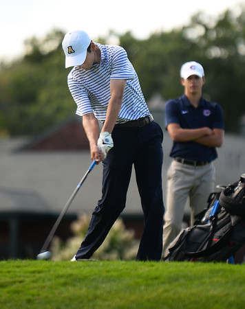CARL RUSSO/staff photo. Andover's Teddy Gorrie tees off at the start of the meet. Andover defeated Central Catholic in golf action at the Renaissance Country Club in Haverhill on Tuesday, September 17.  9/17/2019