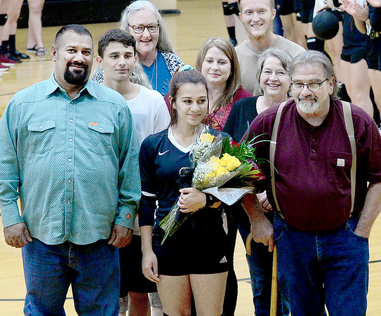 KEVIN HARVISON | Staff photo<br /> McAlester High School Volleyball senior Emma Quintana was honored during Thursday night game at Bob Brumley.