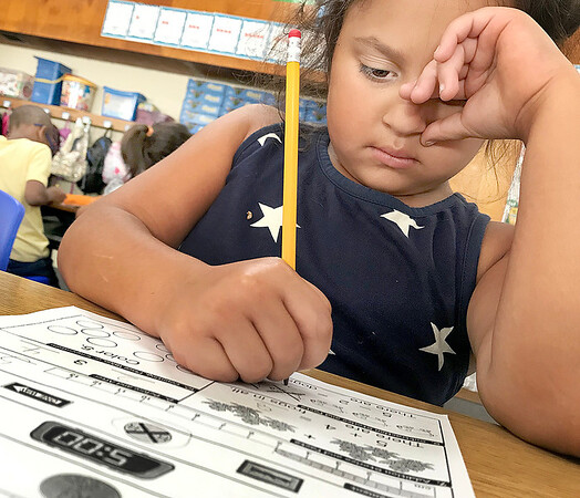 KEVIN HARVISON   Staff photo<br /> Tenley Ohls concentrates on her cognitive class room conundrum.