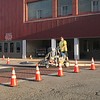 KEVIN HARVISON | Staff photo<br /> Choctaw Avenue was given new crosswalk paint Wednesday morning.