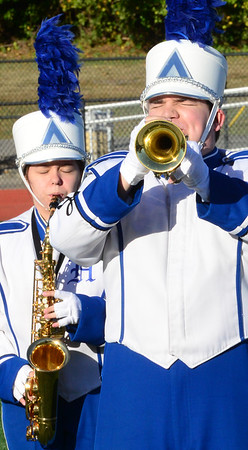 KEVIN HARVISON | Staff photo<br /> Hartshorne High School Marching Band performs at Hook Eales Stadium Wednesday during OSSSA Small School band competition.