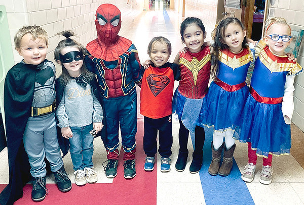SUBMITTED Photo | <br /> Jefferson Early Childhood Center students pose for a photo during Super Hero Day of Red Ribbon Week.