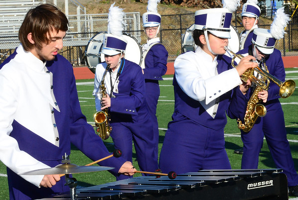 KEVIN HARVISON | Staff photo<br /> Wilburton High School Marching Band performs at Hook Eales Stadium Wednesday during OSSSA Small School band competition.