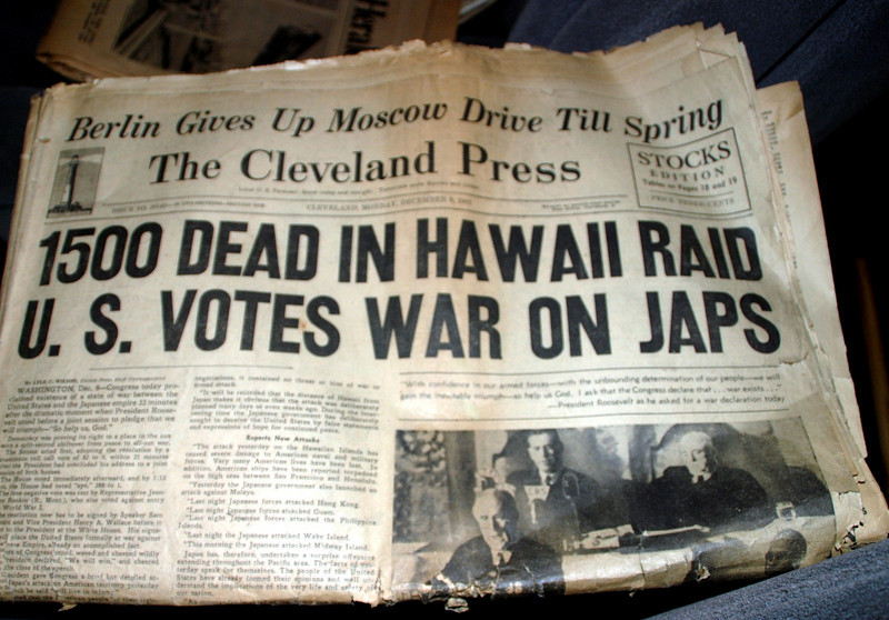 Cleveland Press December 8th, 1941. A newpaper from my parents. I still have this paper. Hawaii Raid, U.S. Votes war on Japs.