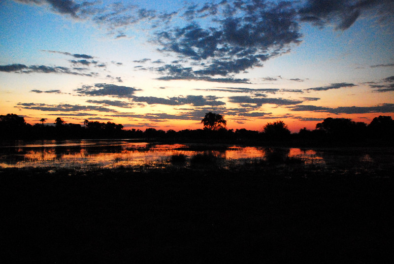 sunset on the Okvanga Delta