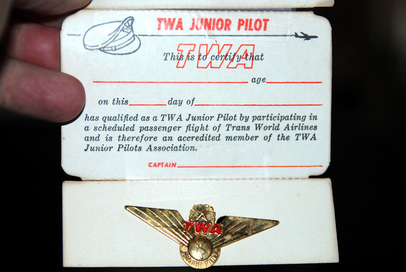 TWA first flight 1968 a junior pilot wings they gave out if it was your first flight. Trans World Airlines . My first flight was on a Connie a TWA Constellation or Super Connie.  It was it's last flight from Cle to MCI.  The return flight the next day was by a 707 making TWA a full Jet Fleet.