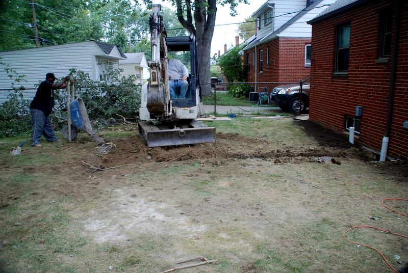 French drain backyard, filling in dirt