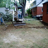 French drain backyard, filling in dirt